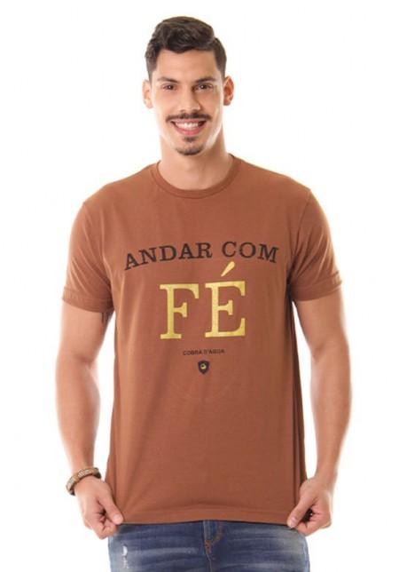 Camiseta Cobra D'agua Andar com Fé - Marrom